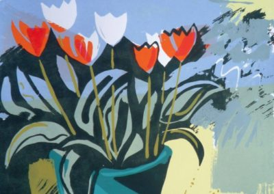 Tulips in the Copper. Screen print edition of 13 40x40cms.