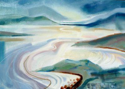 Across the Sands.  Oil on canvas.  51x76cms