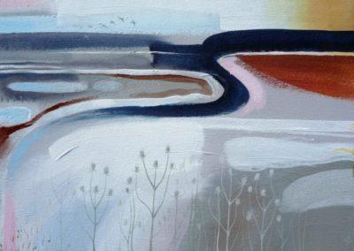 Rye Harbour, Dusk.  Oil on canvas. 41x71cms