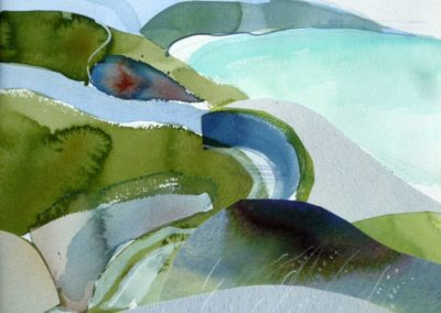 Coastal Path II. Water colour and collage. 27x31cms