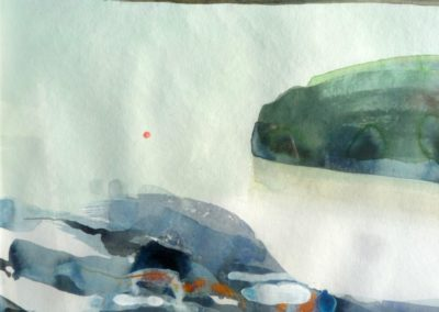 Calm Sea and Rocks I. Water colour.  43x48cms