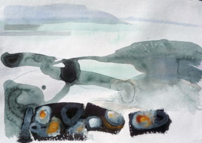 Rock Pools and Islands. Water colour. 48x68cms
